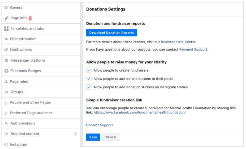 Facebook donate reporting