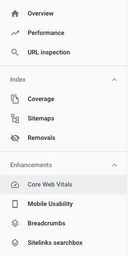 Core web vitals option in Search Console menu